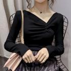 Ruched V-neck Long-sleeve Top