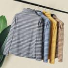 Striped Long-sleeve Mock-turtleneck Top