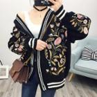 Embroidered Loose Fit Cardigan