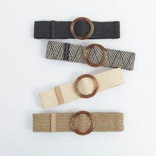 Round Buckled Straw Belt
