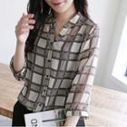 Open-placket Plaid Chiffon Shirt