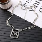 Stainless Steel Letter M Pendant Necklace Silver - One Size