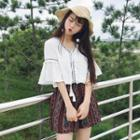 Tasseled Embroidered Elbow Sleeve Top / Patterned Shorts