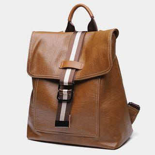 Genuine Leather Flap Panel Backpack