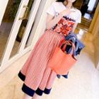 Set: Short-sleeve Printed T-shirt + Midi Printed A-line Skirt