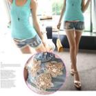 Lace Trim Embellished Denim Shorts