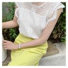 Sleeveless Laced Top White - One Size