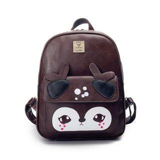 Deer Faux Leather Backpack