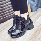 Block Heel Fleece-lined Ankle Boots
