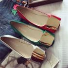 Faux-leather Metal-accent Flats