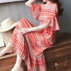 Elbow-sleeve Chiffon Print Midi Dress