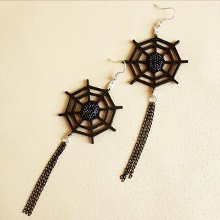 Leather Spider Web Earrings  Black - One Size