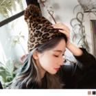 Pompom Leopard Print Beanie