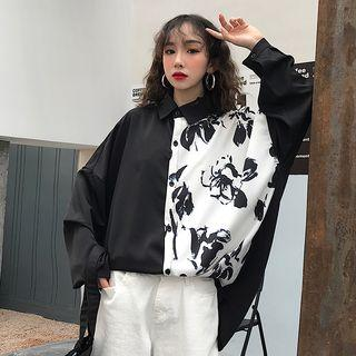 Printed Panel Shirt As Shown In Figure - One Size