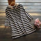 3/4-sleeve Striped Hooded Knit Top