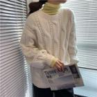 Turtleneck Long-sleeve Knit Top / Cable-knit Oversize Sweater