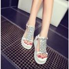 Genuine-leather Jeweled Platform Sandals
