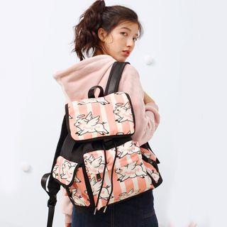 Pig Print Nylon Backpack