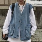 Couple Matching Denim Vest Blue - One Size