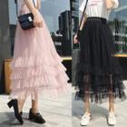 Band-waist Mesh Skirt