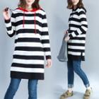 Striped Hooded Long Knit Top