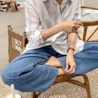 Tab-waist Wide-leg Jeans