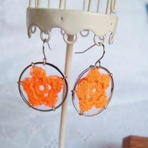 Lace Flower Ring Earrings(orange)