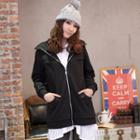 Zip-front Brushed-fleece Long Jacket
