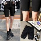 Fray-hem Denim Skinny Shorts