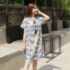 Tassel-front Leaf Print Shift Dress