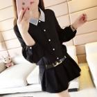 Long-sleeve Contrast Collar Blouse