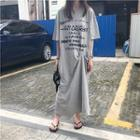 Short-sleeve Lettering Maxi Dress