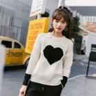 Heart Print Cable Knit Sweater