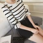 Ruffled Elbow-sleeve Striped Knit Top