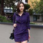 Corduroy Long-sleeve Sheath Dress