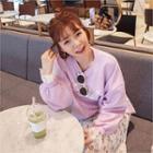 Lettering Lace-cuff Sweatshirt