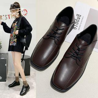 Block-heel Lace-up Oxford Shoes