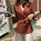 Double-breasted Linen Blend Blazer With Sash