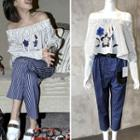 Embroidered Blouse / Striped Harem Pants