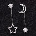 Rhinestone Moon & Star Asymmetrical Drop Earrings