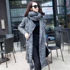 Long Knit Cardigan With Scarf