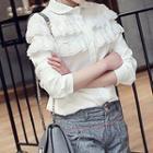 Lace Trim Chiffon Shirt