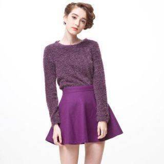 Long-sleeve Furry-knit Top