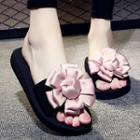 Flower-accent Slide Sandals / Wedge Slide Sandals