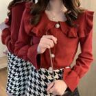 Ruffle-collar Knit Cardigan