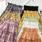 Paperbag-waist Ruffled A-line Skirt