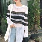 Striped Loose-fit Cutout Knit Top