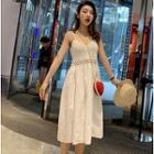 Spaghetti Strap Midi Knit Panel Dress