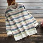 Contrast Color Patterned Knit Top