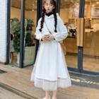 Hooded Long-sleeve Dress White - One Size